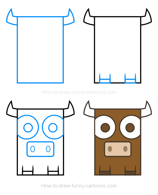 How to Draw a Bull Clipart