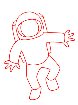 Drawing a cartoon astronaut