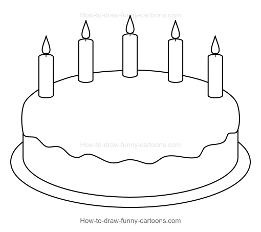 How To Draw Cake Images : How to Draw A Cartoon Birthday Cake