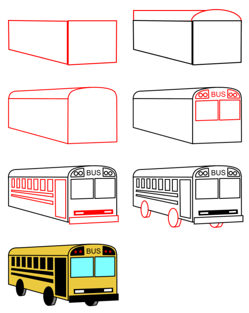 how to draw a bus cartoon