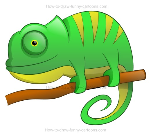 How to Draw A Cartoon Chameleon