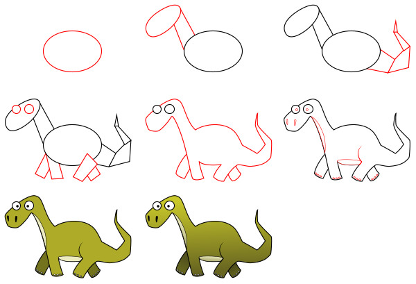 How to draw cartoon characters - a dinosaur