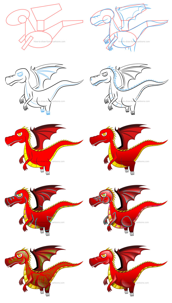 How to draw a cartoon dragon