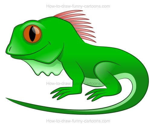 How to draw a cartoon iguana