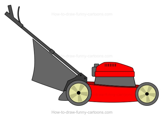How To Draw A Cartoon Lawn Mower