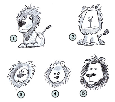 Drawing a cartoon lion