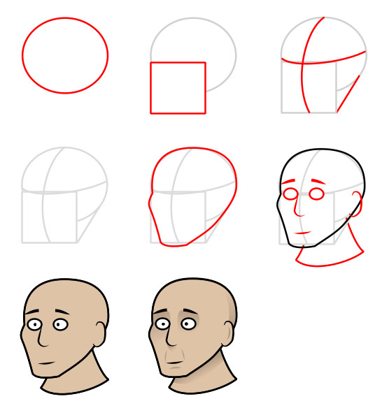 Cartoon people and body parts: head
