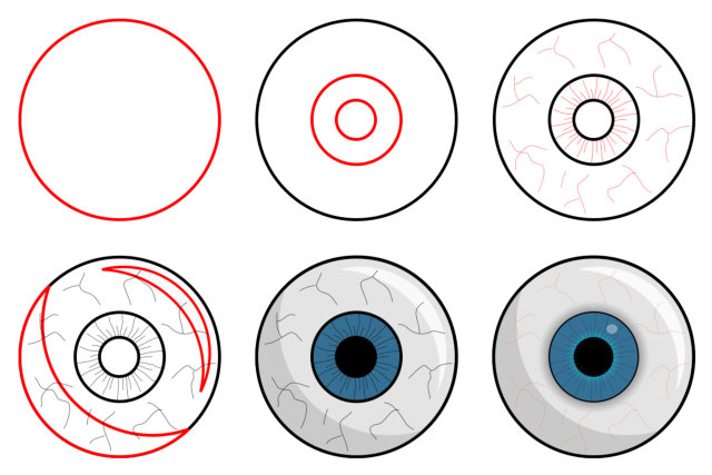 Cartoon people and body parts: eyes