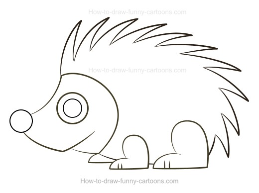 How to Draw A Cartoon Porcupine