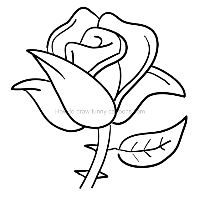 How To Draw A Cartoon Rose