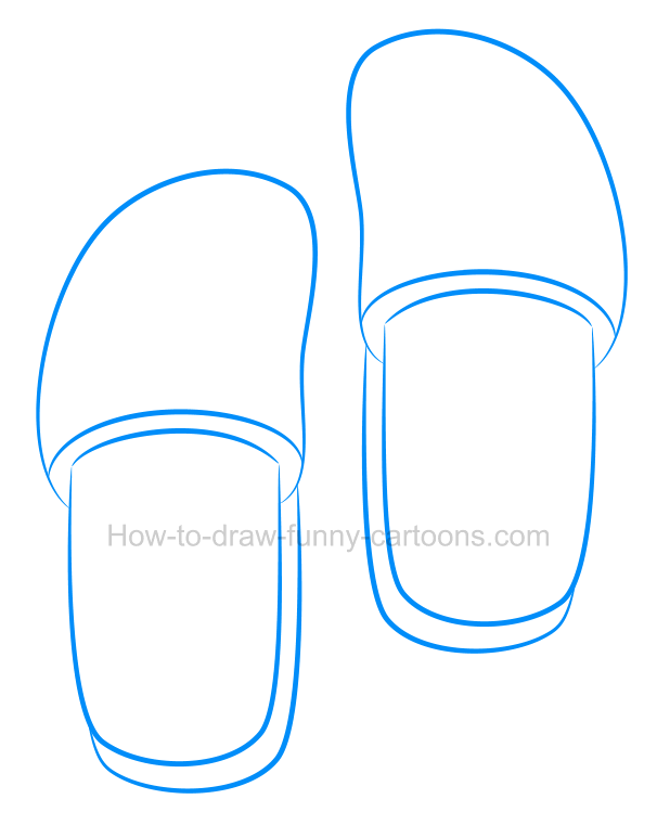 How to draw cartoon slippers