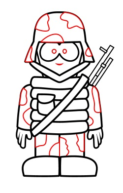 Drawing a cartoon soldier