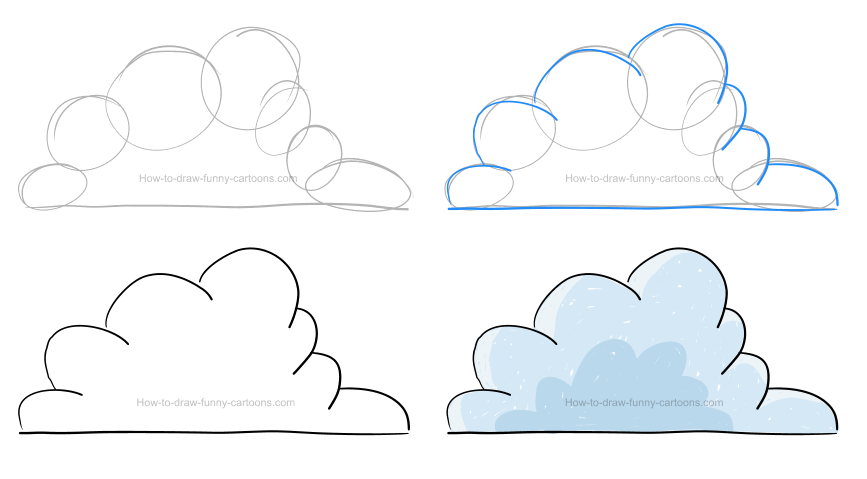 How to draw a cloud clipart