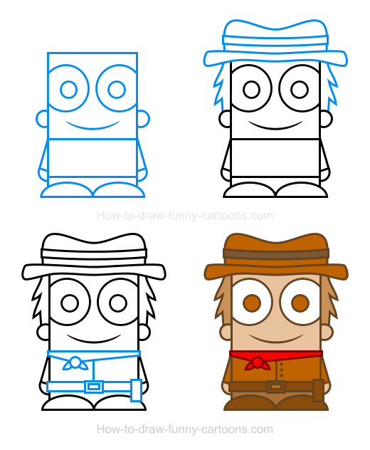 How To Draw A Cowboy Clipart