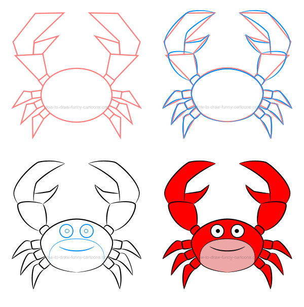 How to draw a crab clip art