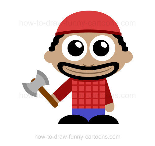 how to draw a lumberjack rh how to draw funny cartoons com Female Lumberjack Old Lumberjack Cartoon