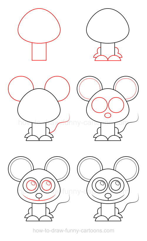 How to draw a mouse Easy Animals To Draw Step By Step