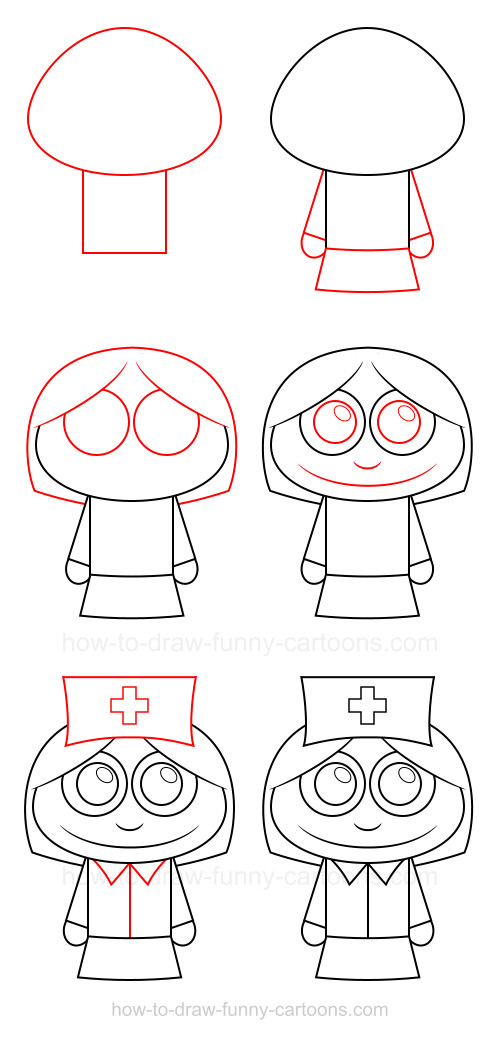 How to draw cartoon characters: Nurse