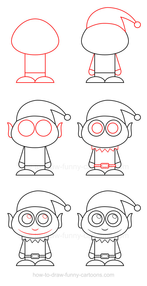 how to draw an elf - How To Draw A Christmas Elf