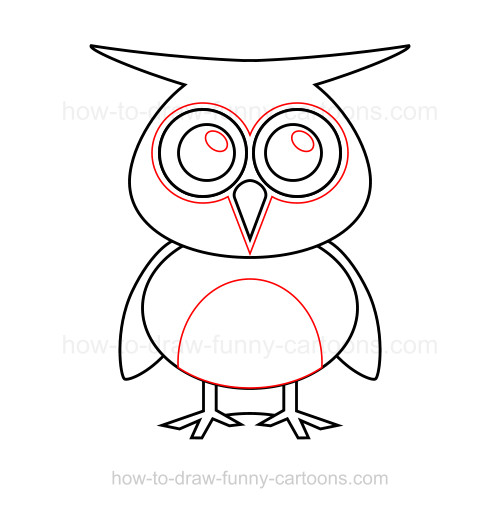 How to draw an owl for Owl beak drawing