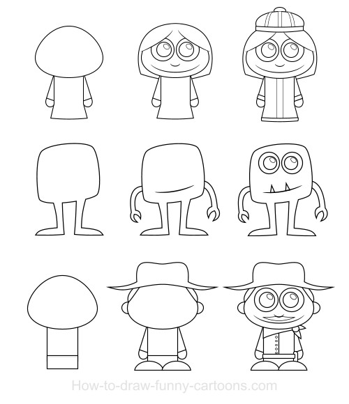 Cartoon Characters Using Shapes : How to draw cartoon characters