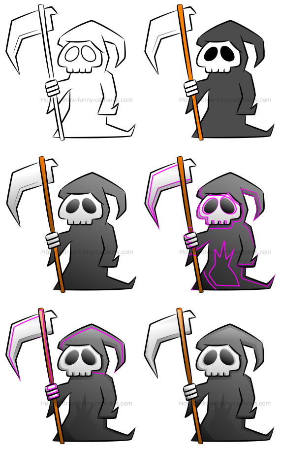 How to draw a grim reaper clipart