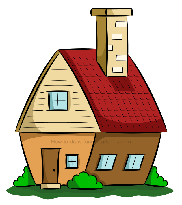 How to draw a house clip art