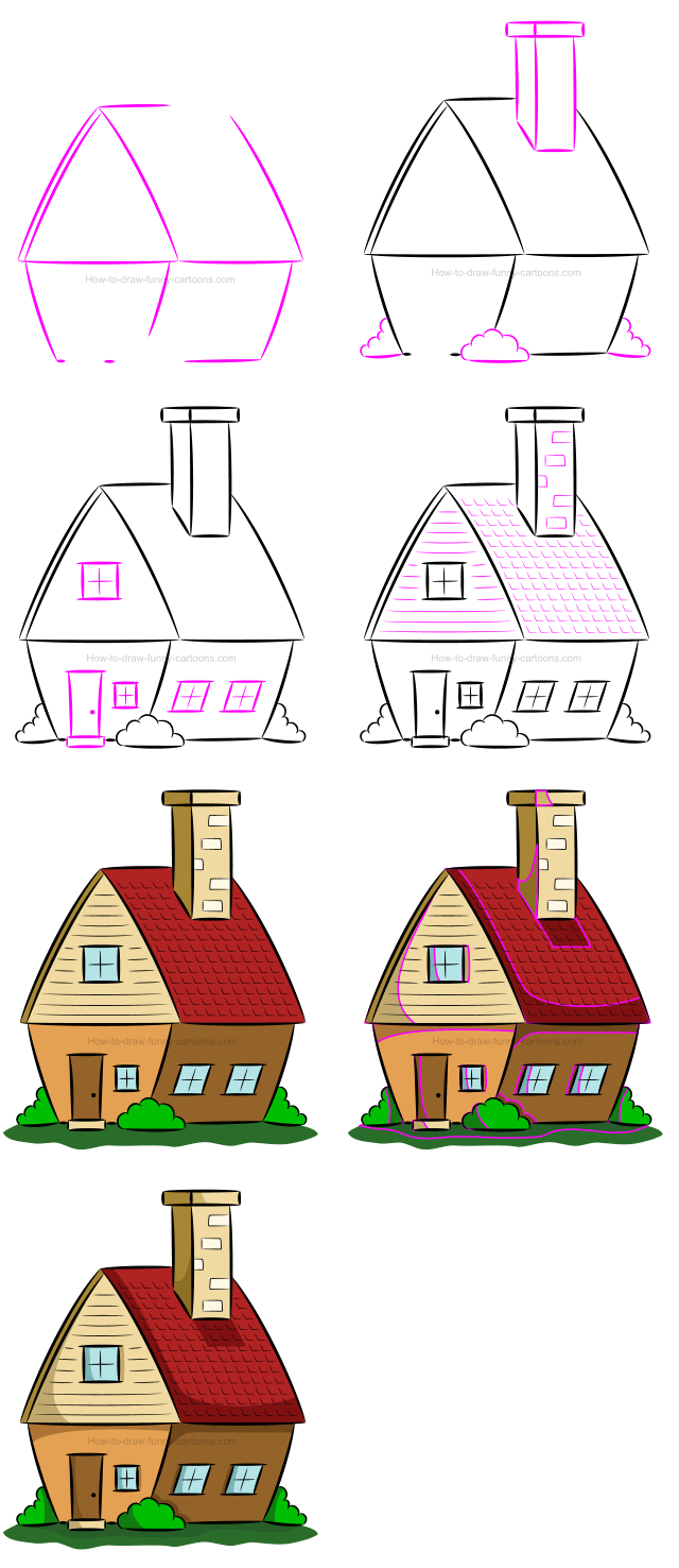 Mansion Drawing: How To Draw A House Clip Art