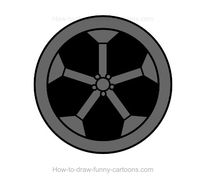 Make Sure That The Back Of Object Is Black And Add A Large Circle To Ilrate Tire Small In Middle Draw Five Rectangles