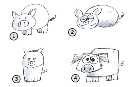 how to draw a pig step 4