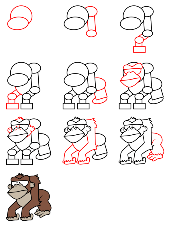 How to draw animals : gorilla