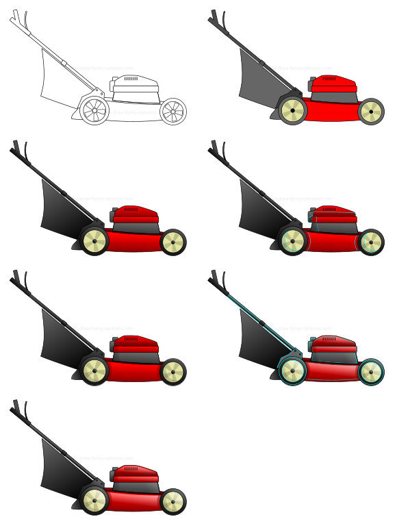Learn how to draw misc images - lawn mower