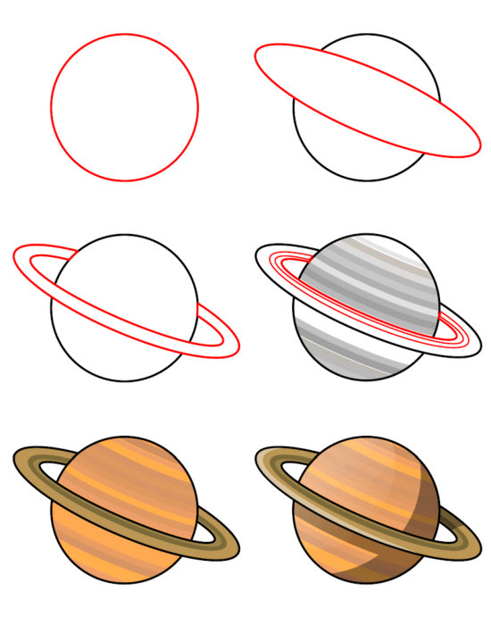 Learn how to draw cartoons (Places) - Planet