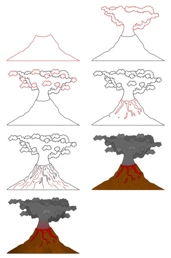 Learn how to draw cartoons (Places) - Volcano