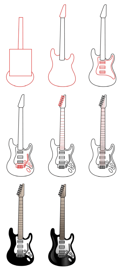 Learn to draw objects : guitar