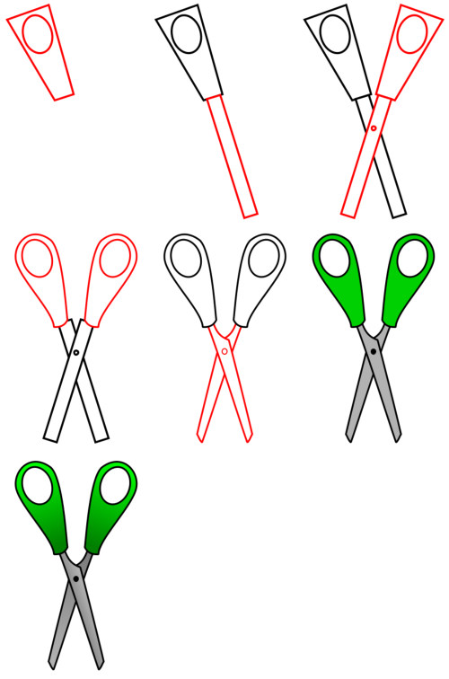 Learn to draw objects : scissors