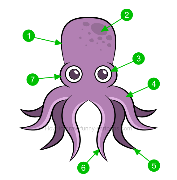 How to draw an octopus clip art for Octopus drawing easy