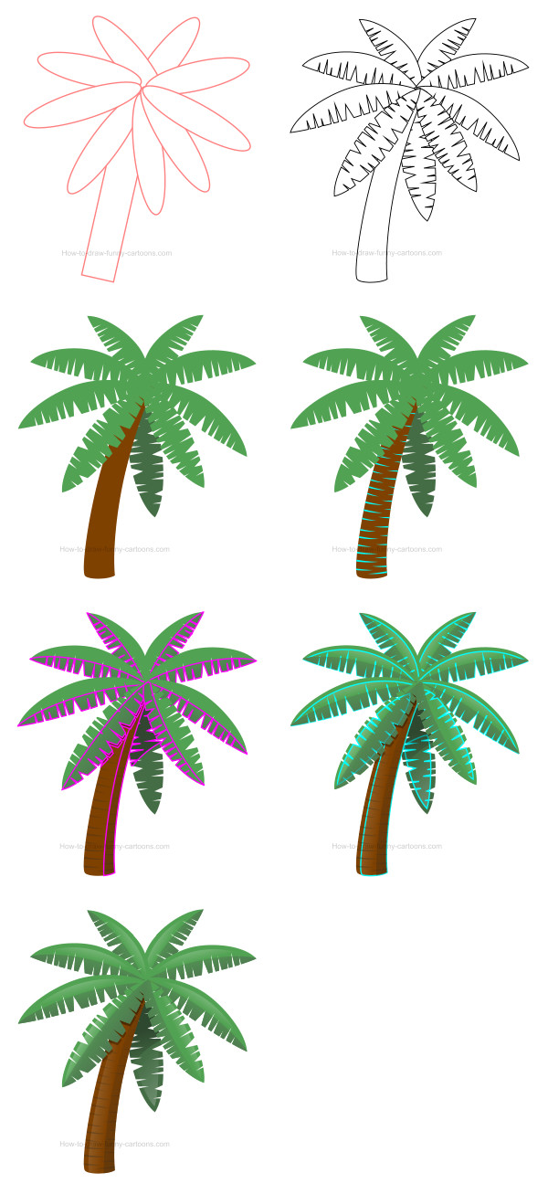 how to draw date palm tree