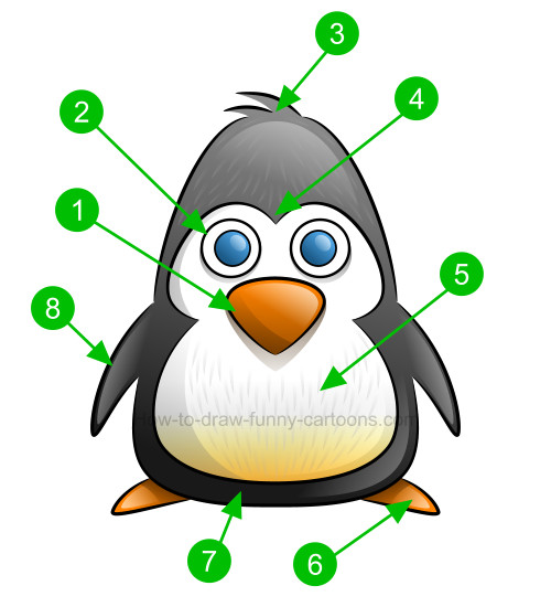 How to draw a penguin clip art