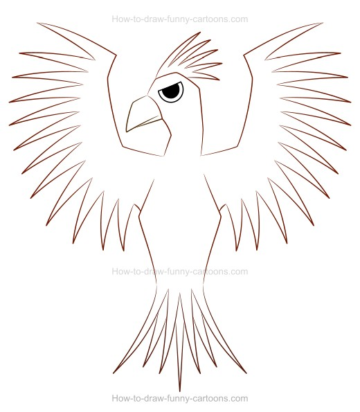 Create a fun phoenix drawing for Fun and easy pictures to draw