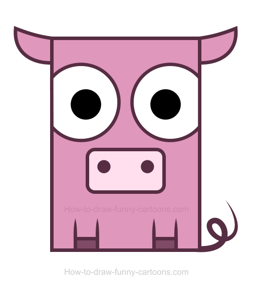 how to draw a pig clipart