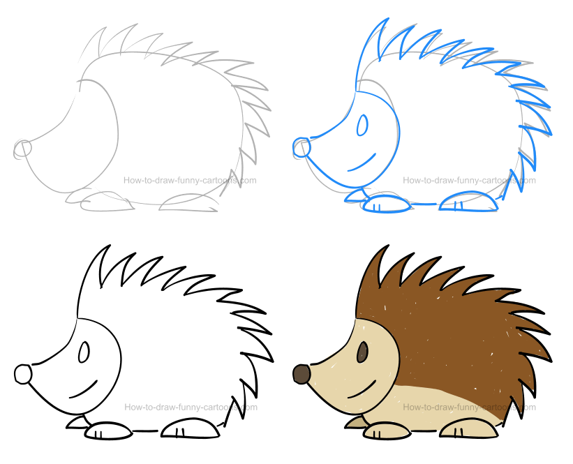 How to draw a porcupine pictures & video