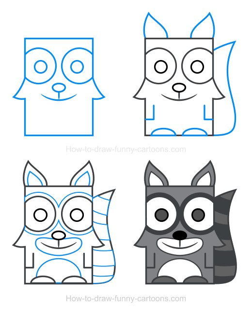 How to Draw a Raccoon Clipart