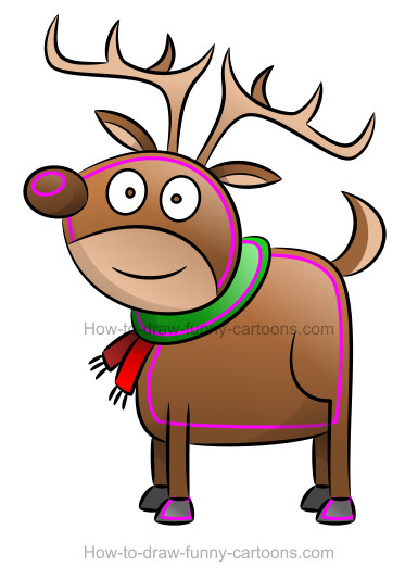 How to draw a reindeer clipart