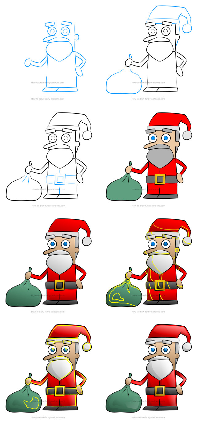 How to draw a Santa Claus clipart