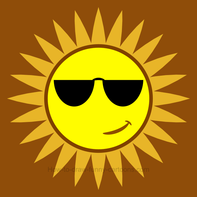 How to draw a sun clip art