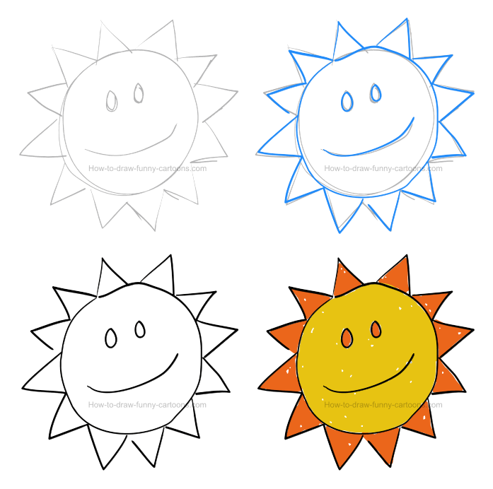 How To Draw A Cartoon Illustration (Basic Lessons) - sun