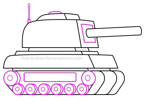 how to draw a cartoon tank