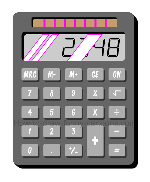 How to draw a cartoon calculator