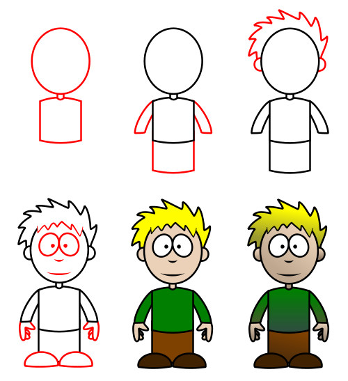 How to draw cartoon characters a boy
